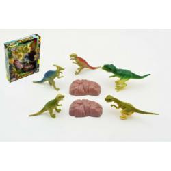 Sada dinosaurus 5ks + doplňky v krabici 19x23x4cm