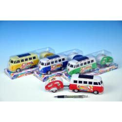 Autobus s karavanem plast 14cm plast 8cm na setrvačník asst 4 barvy v krabičce