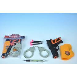 Pistole s přísavkami + doplňky plast 15cm  v sáčku