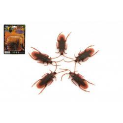 Švábi hmyz 5ks plast 4cm na kartě 11x15cm