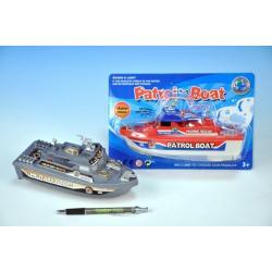 Loď/člun plast 21cm na baterie asst 2 druhy na kartě
