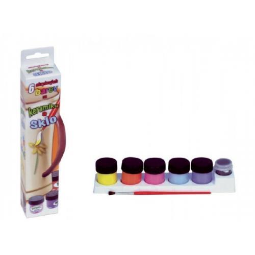Barvy akrylové na keramiku a sklo 6ks v krabičce 5x21cm