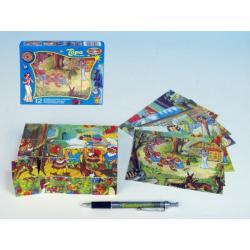 Kostky kubus Sněhurka dřevo 12ks v krabičce 16,5x12x4cm