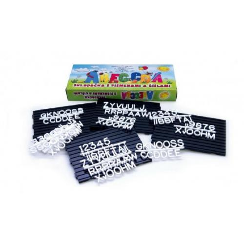 Abeceda Skládačka s písmenky a čísly +podložky plast v krabici 31x13x4cm