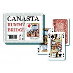 Canasta společenská hra - karty 108ks v plastové krabičce 12,5x10,5x2cm