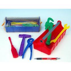 Sada nářadí ve skříňce plast 24x9,5x11cm asst 2 barvy v síťce