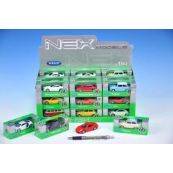 Auto Welly mini kov 7cm asst 12 druhů v krabičce 36ks v boxu