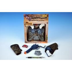 Pistole kovbojská plast 16cm 2ks s doplňky v krabici