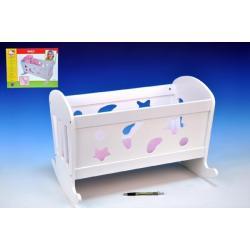 Kolébka pro panenky dřevo 50x36cm +peřinka+polštářek+podložka v krabici