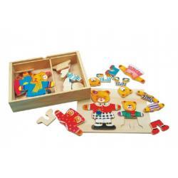 Puzzle Šatník medvědi dřevo barevný v krabici 19x14x4cm
