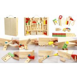 Nářadí dřevo 30ks v dřevěném kufříku 21x30x8cm