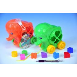 Vkládačka slon tahací plast 19cm asst 2 barvy v síťce