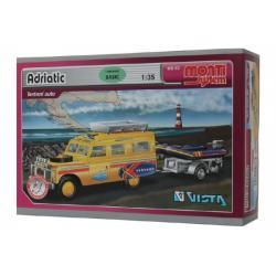 Stavebnice Monti System MS 63 Adriatic Land Rover-vlek s loďkou/člunem 1:35 v krabici 22x15x6cm