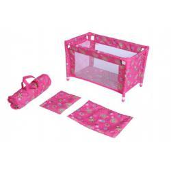 Postýlka pro panenky kov/plast v tašce rozkládací rozměr 53x32x32cm v sáčku