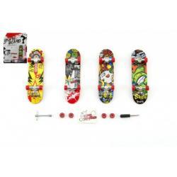 Skateboard prstový šroubovací plast 10cm s doplňky mix druhů na kartě