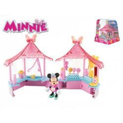 Minnie stánek cukrovinky 14x14cm plast s kloubovou figurkou 8cm a doplňky 17ks v krabičce