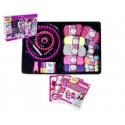 Pletací set kruhový 3ks + barevné příze 11ks plast v krabici 54x36x8cm