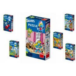 Puzzle Šmoulové 60 dílků 23,5x21,5cm asst 6 druhů v krabičce 24ks v boxu