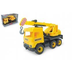 Auto middle Truck jeřáb plast 40cm žlutý v krabici Wader