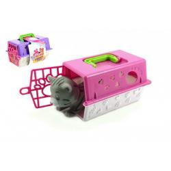 Přenosný box + zvířátko gumové plast 16,5x12x9,5cm asst 3 druhy v sáčku
