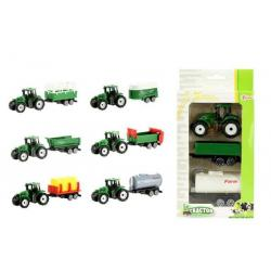 Traktor mini 7cm s přívěsem 2ks plast asst 4 druhy volný chod v krabičce