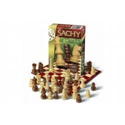 Šachy cestovní společenská hra dřevo v krabičce 10,5x15,5x3cm