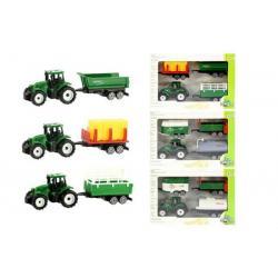 Traktor mini 7cm s přívěsem 3ks plast asst 4 druhy volný chod v krabičce