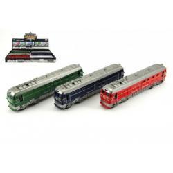 Vlak/Lokomotiva plast 23cm na setrvačník na baterie se zvukem se světlem asst 4 barvy 12ks v boxu