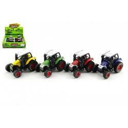 Traktor kov 9cm na zpětné natažení asst 4 barvy 6ks v boxu
