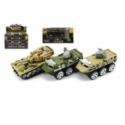 Tank/Auto vojenské/Obrněný transportér kov 7cm mix druhů 24ks v boxu