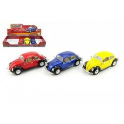Auto Kinsmart VW Classical Beetle kov 17cm volný chod asst 3 barvy 6ks v boxu