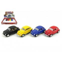 Auto Kinsmart VW Classical Beetle kov 13cm na zpětné natažení asst 4 barvy 12ks v boxu