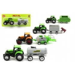 Traktor s přívěsem plast 16cm asst 6 druhů na kartě