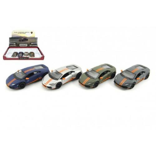 Auto Kinsmart Lamborghini Huracan kov 12cm na zpětné natažení asst 4 barvy 12ks v boxu