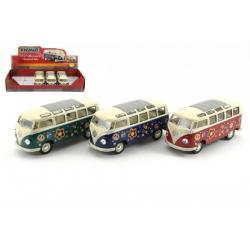 Autobus Kinsmart VW Classical kov 18cm asst 3 barvy 6ks v boxu