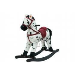 Kůň houpací bíločerný plyš na baterie 71cm se zvukem a pohybem nosnost 50kg v krabici 62x56x19cm
