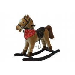 Kůň houpací hnědý plyš na baterie 71cm se zvukem a pohybem nosnost 50kg v krabici 62x56x19cm
