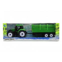 Traktor s přívěsem plast 28cm asst 2 barvy v krabičce