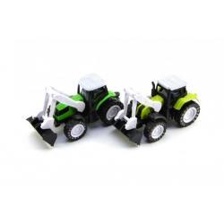 Traktor s radlicí kov/plast 10cm na zpětné natažení asst 2 barvy 12ks v boxu