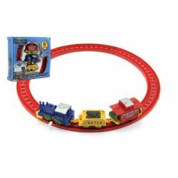 Vlak na klíček 7cm + 2 vagóny 7cm s kolejemi plast v krabici 18x17cm