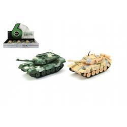 Tank plast/kov 16cm 2 barvy na zpětné natažení 12ks v boxu