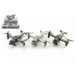 Letadlo/vrtulník plast 13cm na setrvačník asst 3 barvy 12ks v boxu
