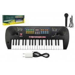 Piánko/Varhany/Klávesy plast s mikrofonem + adaptér 37 kláves 50cm v krabici