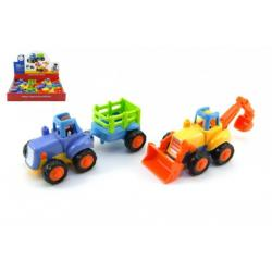 Traktor/Buldozer plast 15cm pro nejmenší asst 2 druhy na setrvačník 6ks v boxu