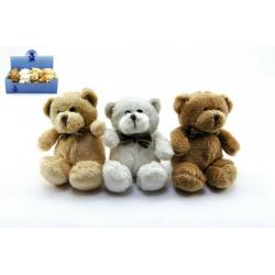 Medvěd/medvídek s mašlí plyš 12cm asst 4 barvy 12ks v boxu