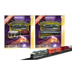 Vlak s kolejemi plast délka dráhy 360cm na baterie se světlem asst 3 druhy v krabici 30x34cm
