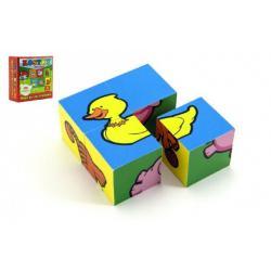 Kostky kubus Moje první zvířátka dřevo 4ks v krabičce 8,5x8,5x4cm