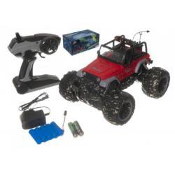 Auto terénní velká kola RC 25cm+dobíjecí pack plast asst 2 barvy na baterie v krabici