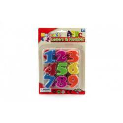 Magnetické číslice 4cm cca 27ks plast na kartě 14,5x22cm