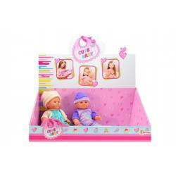 Panenka/miminko plast pevné tělo 21cm asst 12ks v boxu